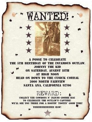 Invitations Scroll Western Wanted Photo Poster Birthday Party Scrolls
