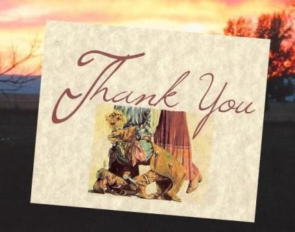 Thank You Cards Western Cowboy Wedding Theme