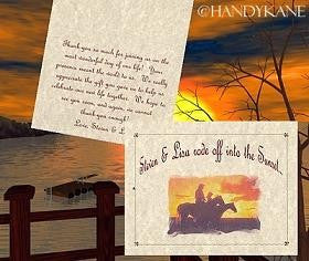 Thank You Cards Western Sunset Wedding Theme