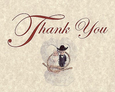 Thank You Cards Western Bride & Groom Wedding Theme