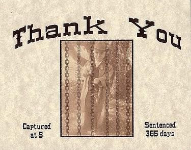 Thank You Cards Western Wanted Birthday Theme