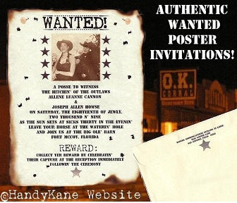 Invitations Scroll Western Wanted Photo Poster Wedding Scrolls