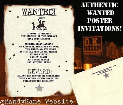 Invitations Scroll Western Wanted Poster Wedding Invitation