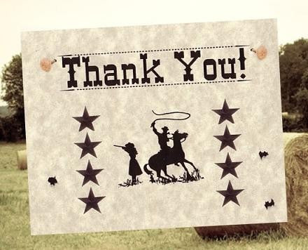 Thank You Cards Western Wanted Wedding Theme