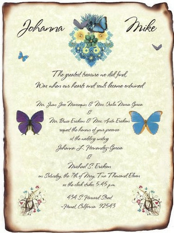 Invitations Scroll Whimsical Beauty Butterfly Theme Wedding