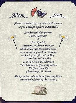 Invitations Scroll Whimsical Spring Butterfly Theme Wedding