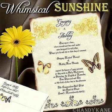 Invitations Scroll Whimsical Sunshine Butterfly Theme Wedding