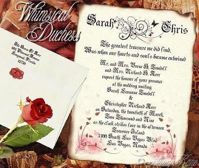 Invitations Scroll Whimsical Duchess Butterfly Theme Wedding