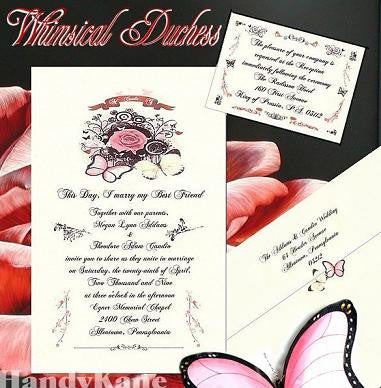 Invitations Single Page & Reception Cards Whimsical Butterfly Wedding