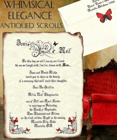 Invitations Whimsical Elegance Butterfly Theme Wedding Scroll Invites