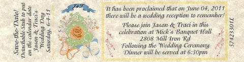Favors Reception Ticket Whimsical Pastels Butterflies Theme