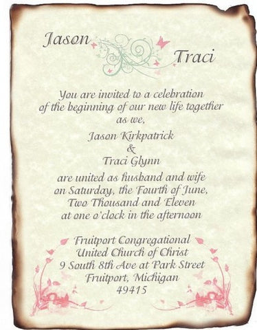 Invitations Scroll Whimsical Pastels Butterfly Theme Wedding