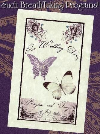 Programs Favor Whimsical Royal Butterfly Theme