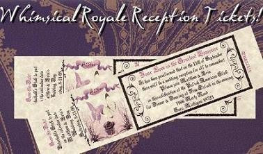 Favors Reception Ticket Whimsical Royal Butterfly Theme
