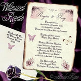 Package Scroll Invitation, Reception Ticket, RSVP & Thank You Card Whimsical Royal Butterfly Theme