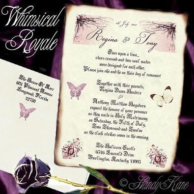 Invitations Scroll Whimsical Royal Butterfly Theme Wedding