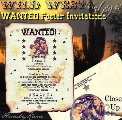 Invitations Scroll Western Wanted Poster Wild West Wedding Scrolls