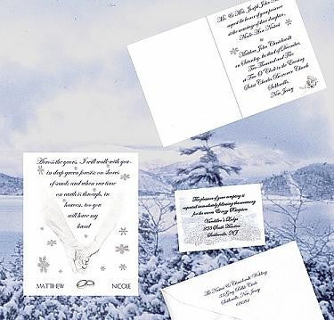 Invitations Folded Winter Snowflake Hands Theme Wedding