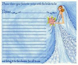 Favors Recipe Cards Winter Bridal Shower Favor
