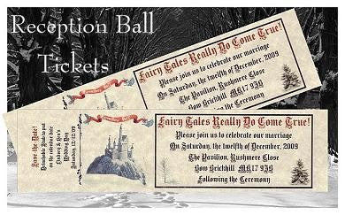 Favors Reception Ticket Winter Royal Scroll Fairy Tale Theme