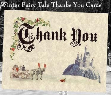 Thank You Cards Winter Royal Fairy Tale Scroll Theme Wedding
