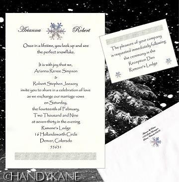 Invitations Single Page Winter Snowflake Theme Wedding & Reception Card