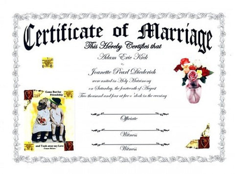 Favors Keepsake Certificate Young Love Theme