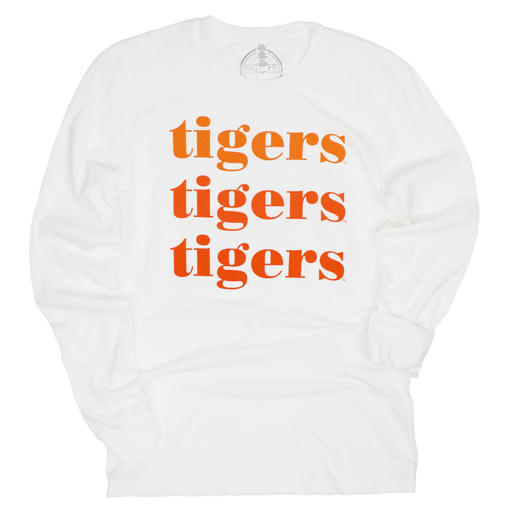 Clemson Tigers On Repeat Long Sleeve Sueded Tee