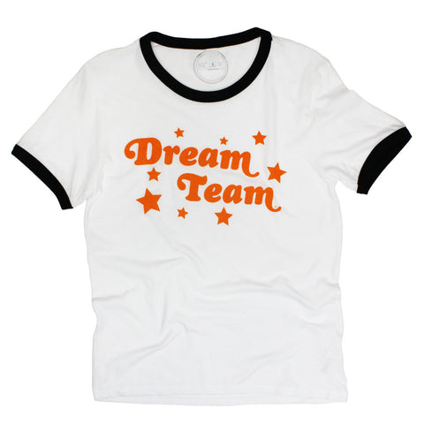 Dream Team Ringer Tee: Black/Orange