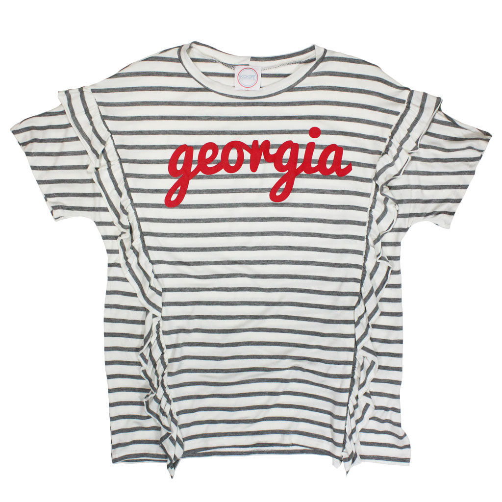 Georgia Fresh Script Striped Ruffle Top - Kickoff Co.