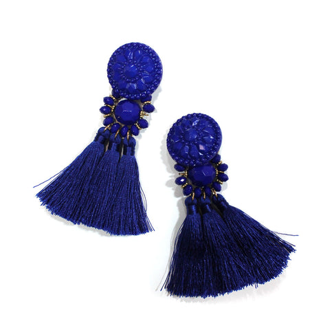 Large Tassel Earrings: Blue