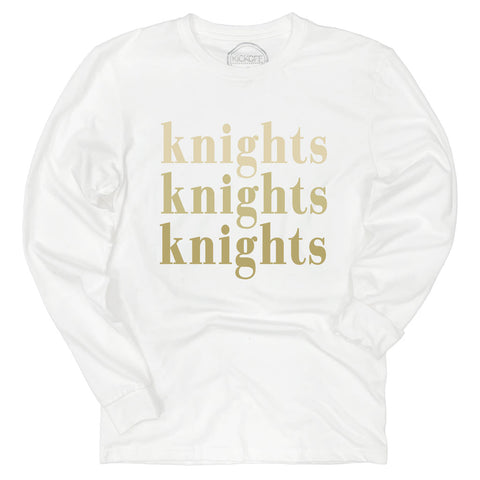 Knights On Repeat Long Sleeve Sueded Tee