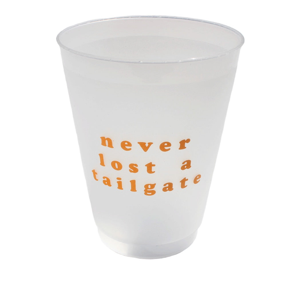 Never Lost A Tailgate Cup Set: Orange
