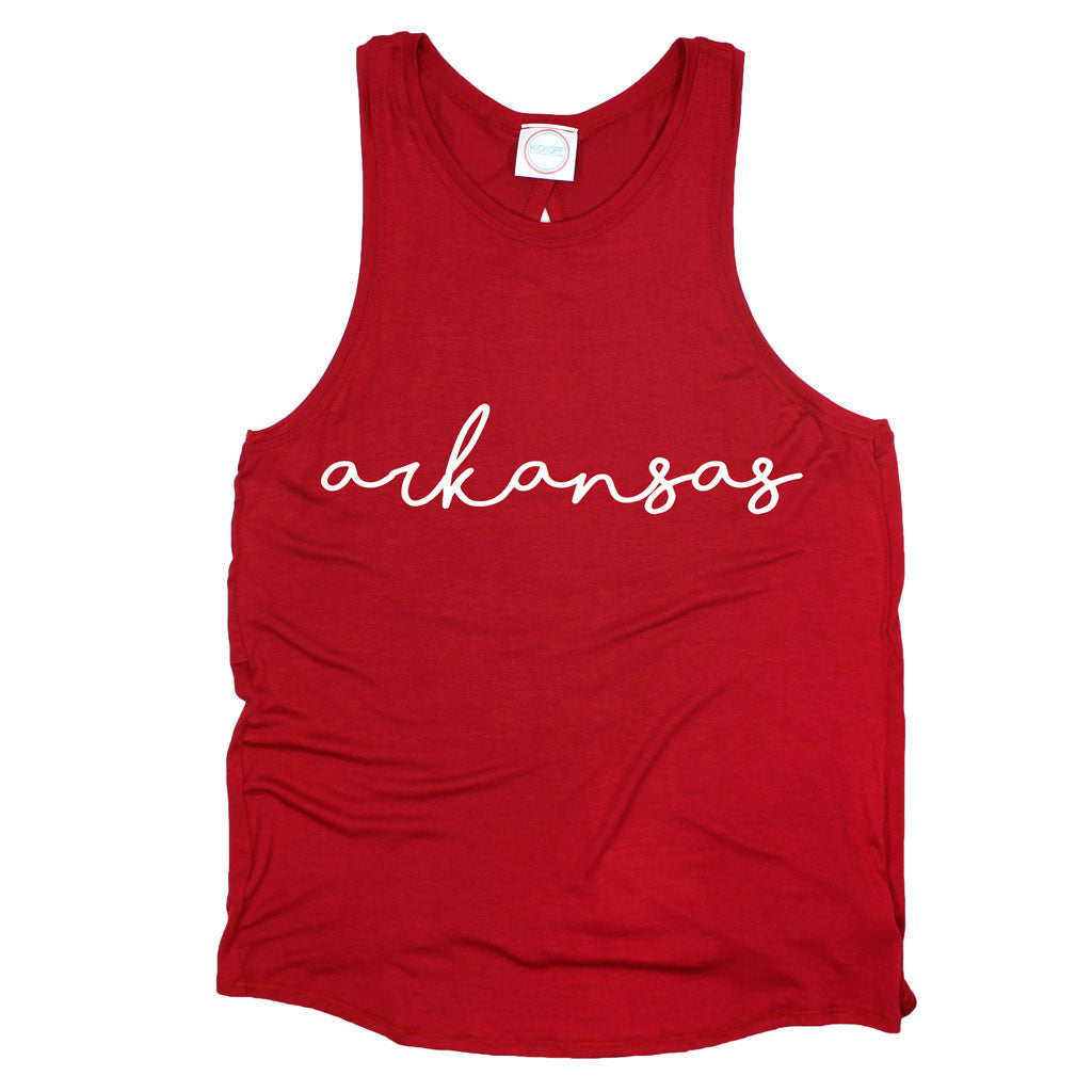Arkansas Pride Script Open Back Tank