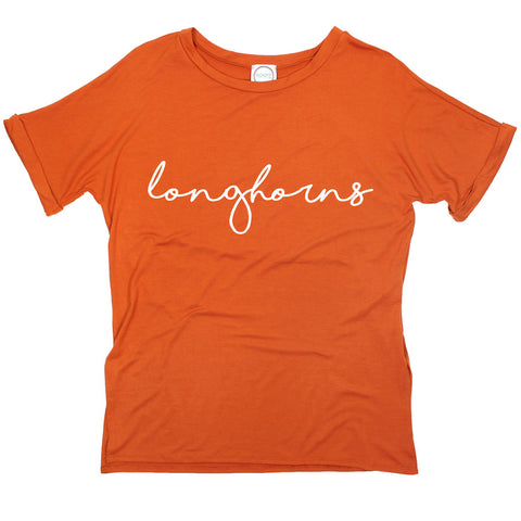 Longhorns Pride Script Side Slit Tee