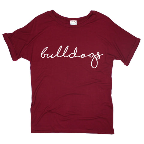 Bulldogs Pride Script Side Slit Tee