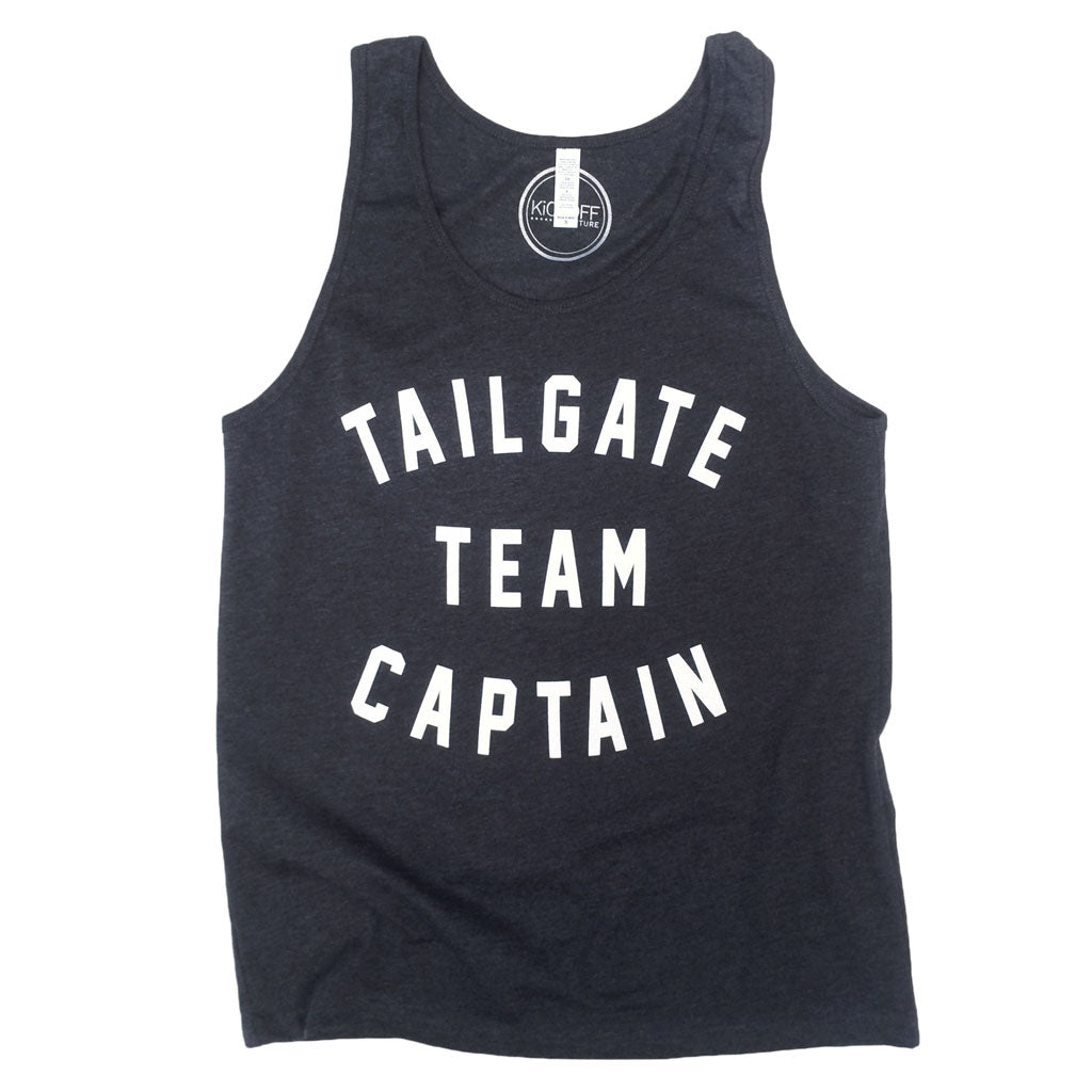 Tailgate Team Captain Unisex Tank: Dark Grey/White
