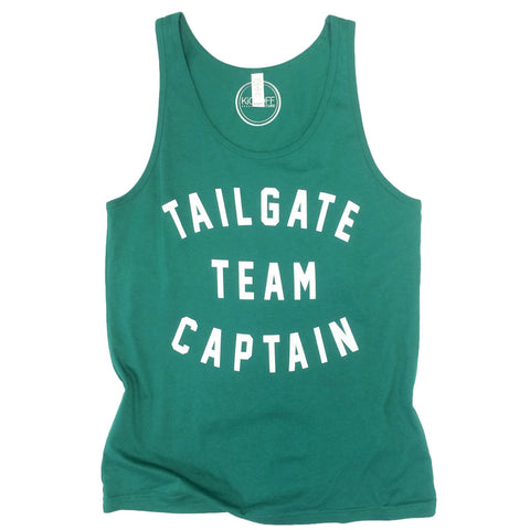 Tailgate Team Captain Unisex Tank: Green/White