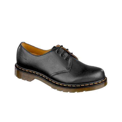 Dr Martens 1461 Black Smooth Leather Yellow Stitch Shoe 1838002