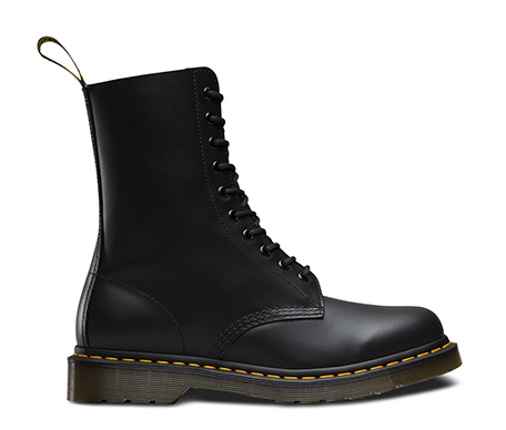 Dr Martens 1490 Black Smooth Leather 10 Hole Boots