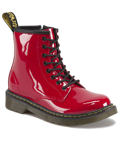 Dr Martens Youth Delaney Red Patent Leather Boot Youth 15382602