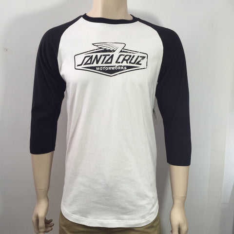 Santa Cruz Motor works Men's Raglan Vintage White Famous Rock Shop Newcastle 2300 NSW Australia