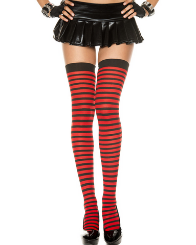 4741 Opaque Striped Thigh Hi Black & Red One Size
