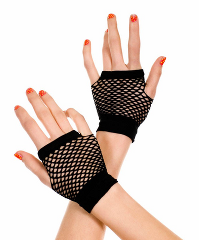 478 Thick Diamond Net Gloves Black