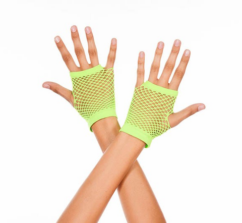 478 Thick Diamond Net Gloves Neon Green