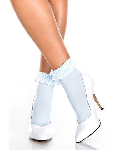 527 Lace Ruffle Opaque Anklet Baby Blue