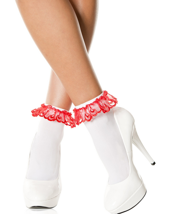 527 Lace Ruffle Opaque Anklet White Red