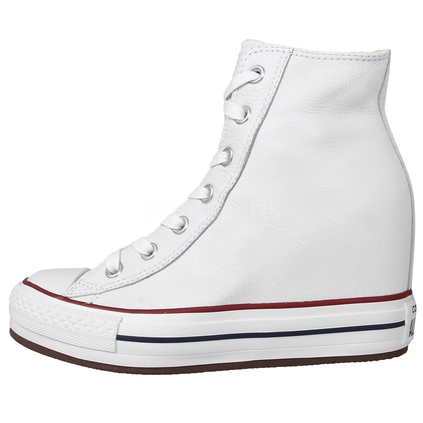95b4c00a080c ... Converse Chuck Taylor All Star Plat Plus Hi White Leather Wedge 544927C  Soft Leather Famous Rock ...
