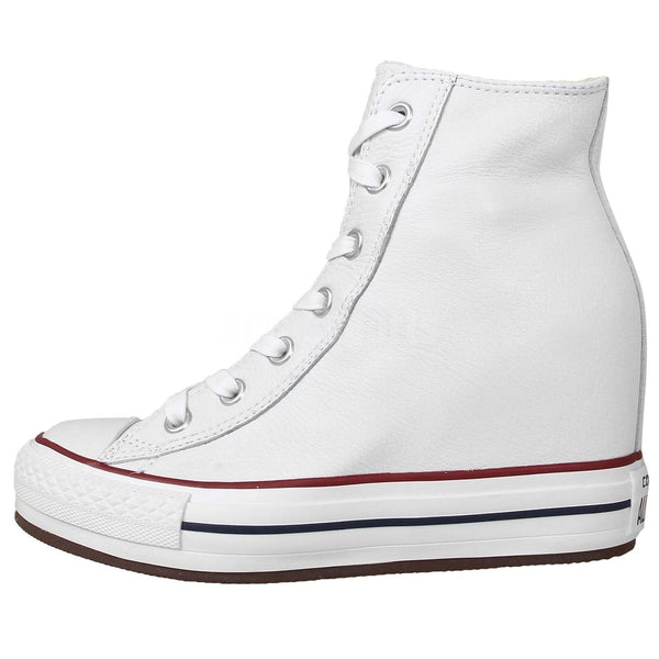 696f202babd0 ... Converse Chuck Taylor All Star Plat Plus Hi White Leather Wedge 544927C  Soft Leather Famous Rock ...