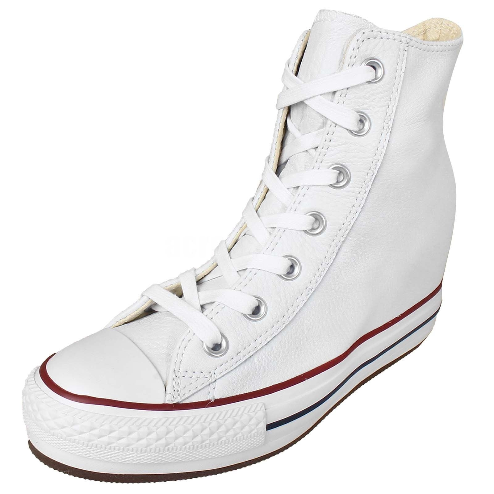 bfe7cfbe5269 ... Converse Chuck Taylor All Star Plat Plus Hi White Leather Wedge 544927C Soft  Leather Famous Rock